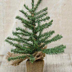 "Natural Mini Pine 9"" Tree with Burlap Base"